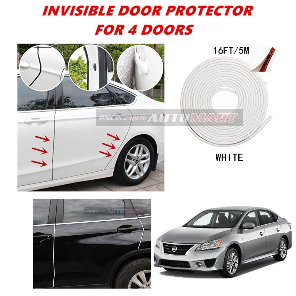 Nissan Sentra - 16FT/5M (WHITE) Moulding Trim Rubber Strip Auto Door Scratch Protector Car Styling Invisible Decorative Tape (4 Doors)