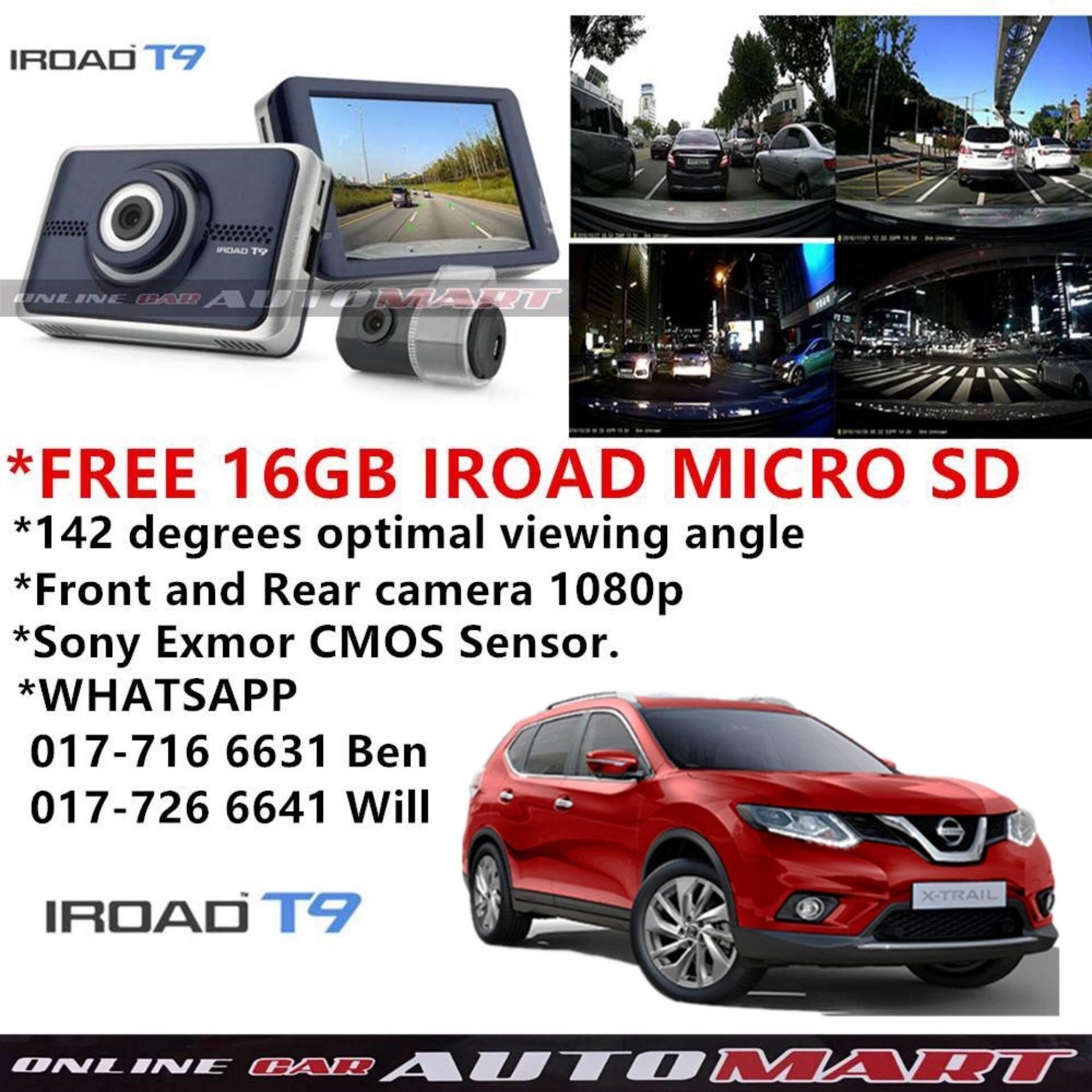 Nissan X-Trail Old/X-Trail Yr 2015-IROAD T9 WIFI 2CH Blackbox Dashcam 16GB Set FullHD 1080p WIFI DVR Car Vehicle Video Recorder - Dash Camera Video Recorder Digital DVR Recorder