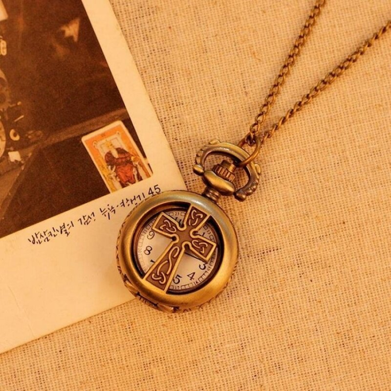 noion Pocket Watch For Men Women Unisex Necklace Quartz AlloyPendant Bronze With Long Chain New Arrival (bronze) Malaysia