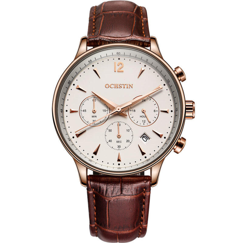 OCHSTIN GQ050A Genuine Leather Strap Steel Case Sport Man Chronograph Wrist Quartz Watch Malaysia