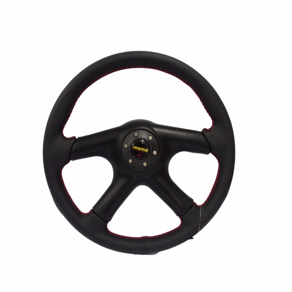 OEM MOMO 14 inch Full PU Steering Wheel Black with Redline ( Free Gift )
