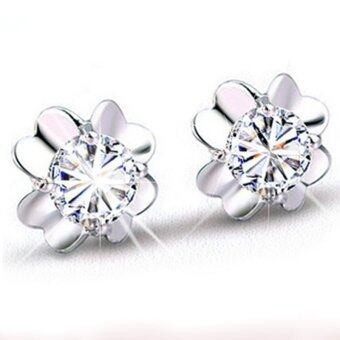 Harga Okdeals Women 925 Silver Plated Four Leaf Clover Crystal StudEarrings (White)