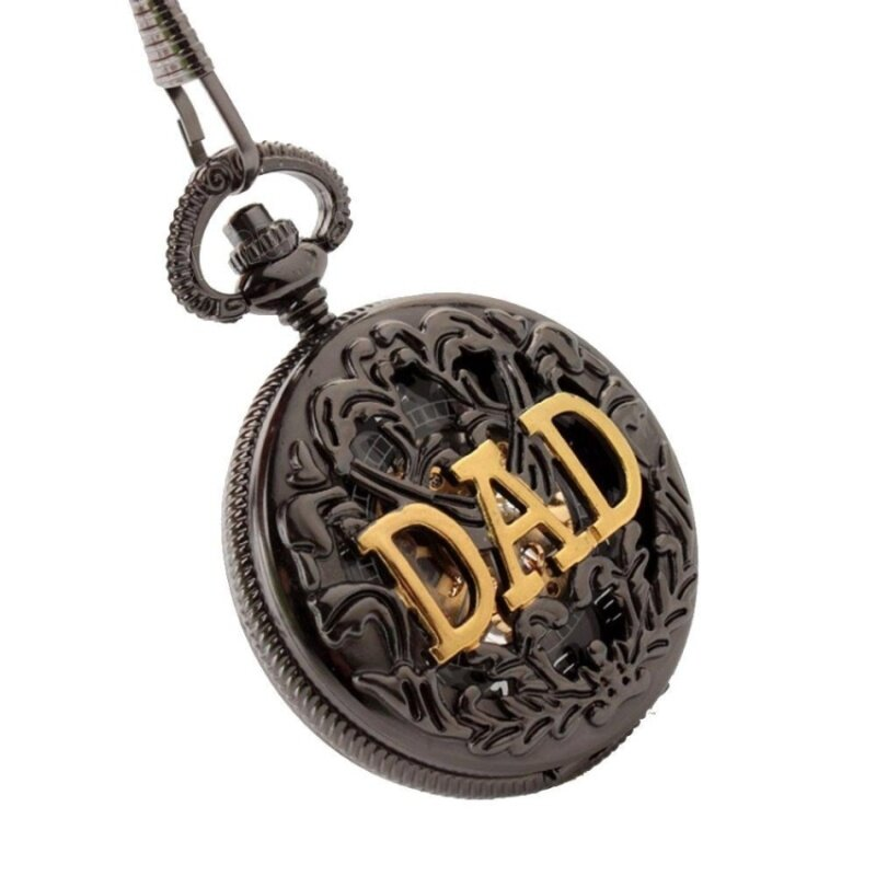 ooplm Antique DAD FOB Pocket Watch Necklace hollow mechanical manfathers Day gift P289 ECS002254 (Black) Malaysia