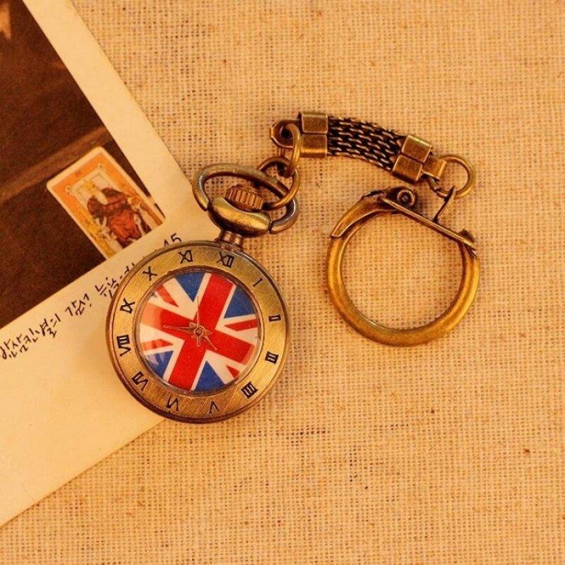 oppoing UK Flag Pattern Roman Number Men Women Pocket Watch QuartzAntique Alloy Pendant Retro Chain Best Gift (bronze) Malaysia