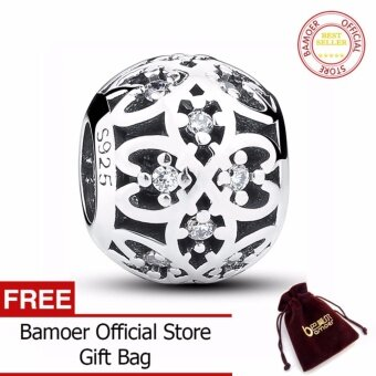 Harga Original Charm Fit Bracelet 925 Sterling Silver Intricate LatticeOpenwork Ball With Clear CZ DIY Jewelry PAS060