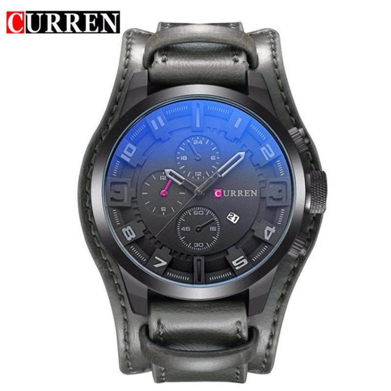 Original CURREN 8225 Mens Sports Full Leather Strap Date Watch- Full Grey Malaysia