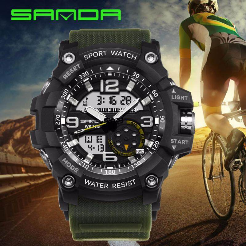 Original SANDA 759 G Style Military Waterproof Outdoor Sports Mens Shockproof Digital Watch (Black Green) Malaysia