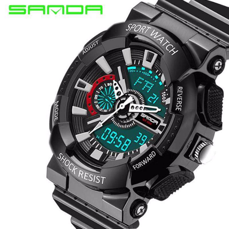 Original SANDA 799 G Style Military Waterproof Outdoor Sports Mens Shockproof Digital Watch (Full Black) Malaysia