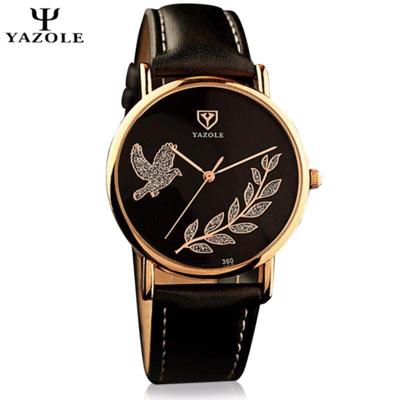 Original YAZOLE Crystal Pigeon Gold Flower Stainless Steel Leather Strap Watch for Women (Full Black) Malaysia