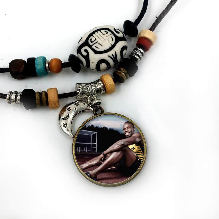 Liontin Kalung Terbang Bolt untuk Pria Wanita Perhiasan Modis Berlapis Perak Berlapis Perak Bulan Bermanik-manik Facebook Katun Tali Rantai Keren Perhiasan -Internasional