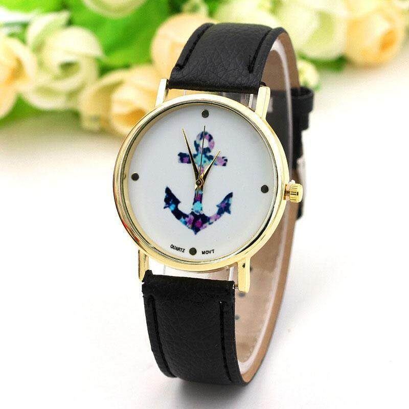 PerfectWorld Womens Anchor Leather Bracelet PU Band Vintage Jewelry Wrist Watch Gifts Malaysia