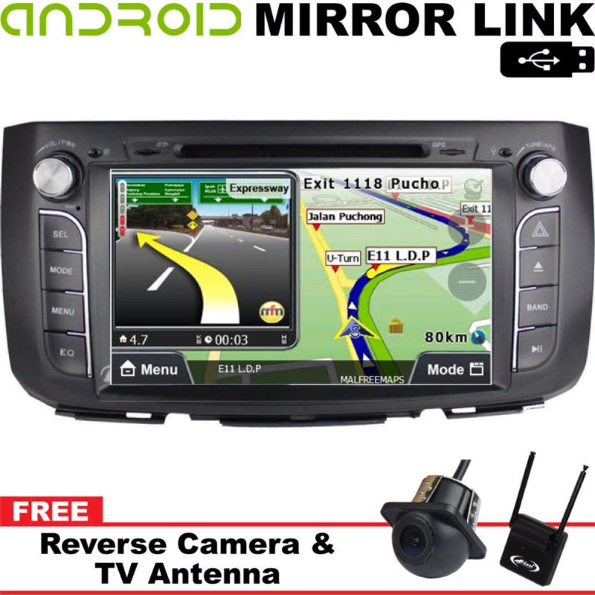 PERODUA ALZA DLAA 9 Android Mirror Link Double Din GPS DVD MP3 CD USB SD BT TV Player Free Camera & TV Antenna""