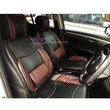 Perodua Alza Red Lining Design Universal Car PU Seat Mat with Lumbar Support Per Piece