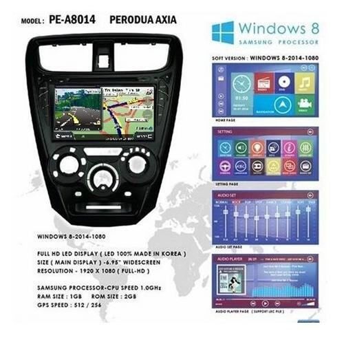 "PERODUA AXIA 8 Full HD Double Din GPS DVD DIVX VCD MP3 CD USB SD Bluetooth TV Player Free Camera & TV Antenna"""