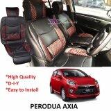 Perodua Axia Red Lining Design Universal Car PU Seat Mat with Lumbar Support Per Piece