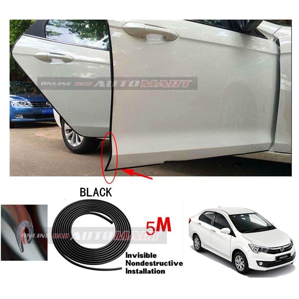 Perodua Bezza - 16FT/5M (BLACK) Moulding Trim Rubber Strip Auto Door Scratch Protector Car Styling Invisible Decorative Tape (4 Doors)
