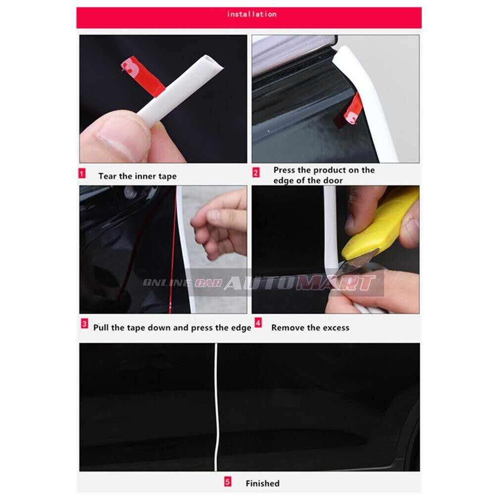 Perodua Bezza - 16FT/5M (RED) Moulding Trim Rubber Strip Auto Door Scratch Protector Car Styling Invisible Decorative Tape (4 Doors)