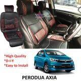 Broz Perodua Bezza Red Lining Design Universal Car PU Seat Mat with Lumbar Support Per Piece