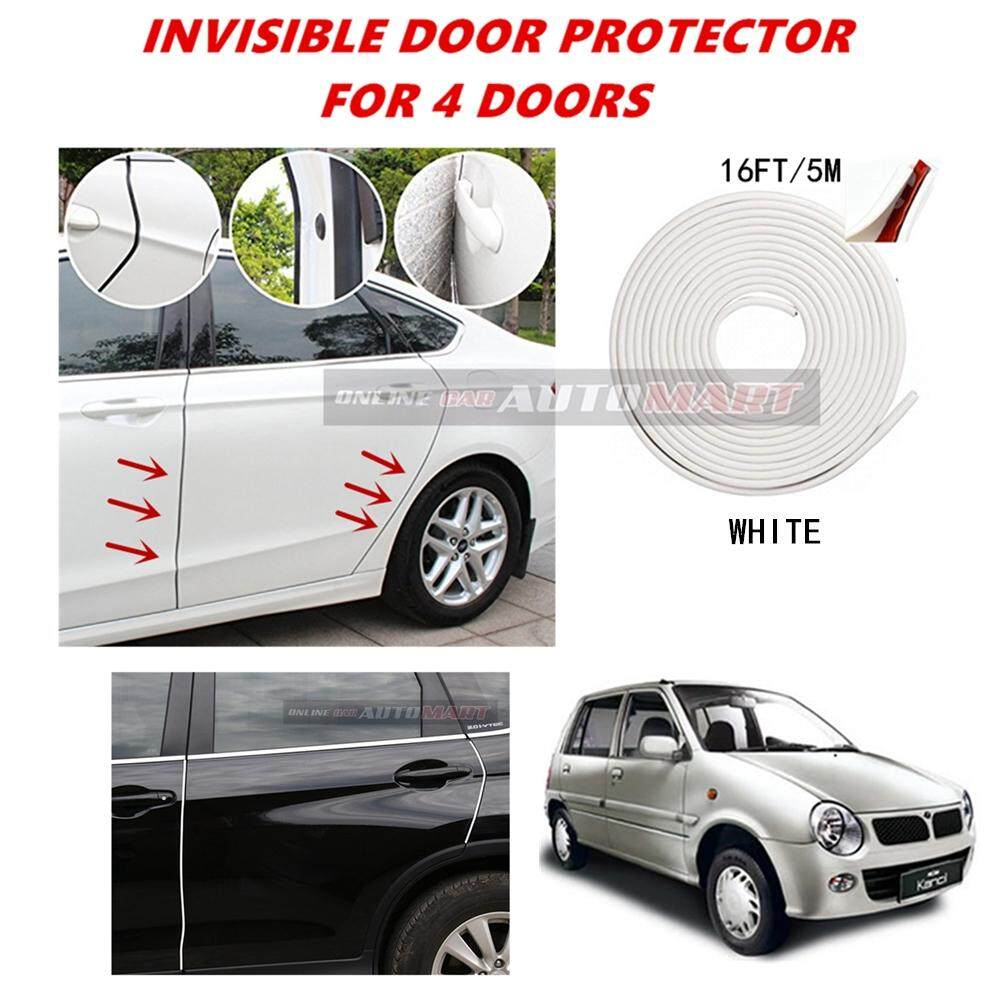 Perodua Kancil - 16FT/5M (WHITE) Moulding Trim Rubber Strip Auto Door Scratch Protector Car Styling Invisible Decorative Tape (4 Doors)