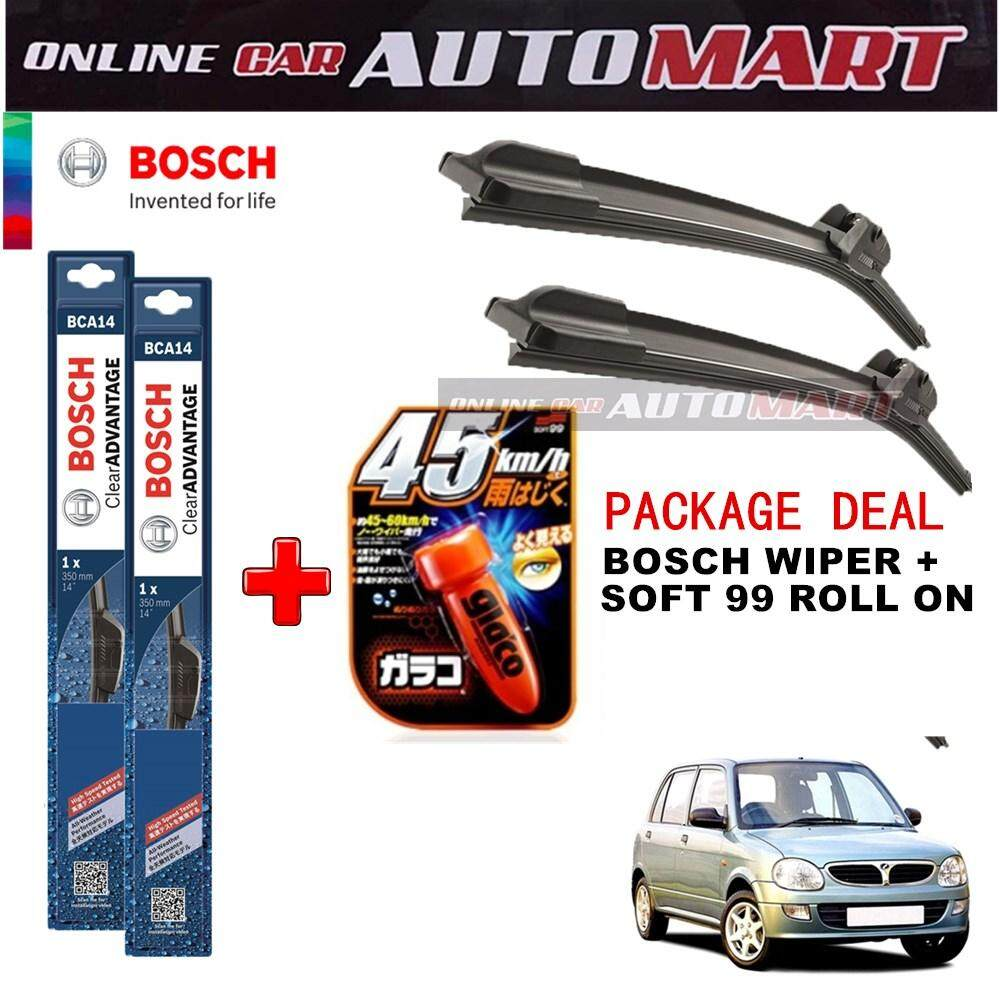 Perodua Kelisa - (PACKAGE DEAL)Bosch Clear Advantage Wiper Blade with Soft99 Glaco Roll On RAIN REPELLANT - 18 inch & 16 inch