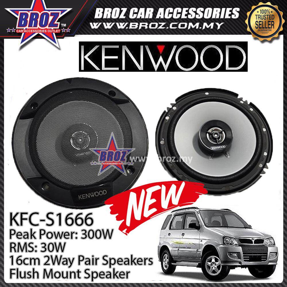 Broz Perodua Kembara Rear Kenwood KFC-S1666 Stage Sound Series 2 Way Speakers