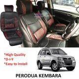 Broz Perodua Kembara Red Lining Design Universal Car PU Seat Mat with Lumbar Support Per Piece