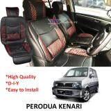 Broz Perodua Kenari Red Lining Design Universal Car PU Seat Mat with Lumbar Support Per Piece