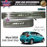 Broz Perodua Myvi 2018 OEM Side Steel Plate / Door Side Step With Led Blue