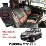 Broz Perodua Myvi Old Red Lining Design Universal Car PU Seat Mat with Lumbar Support Per Piece