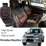 Broz Perodua Nautica Red Lining Design Universal Car PU Seat Mat with Lumbar Support Per Piece