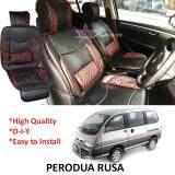 Broz Perodua Rusa Red Lining Design Universal Car PU Seat Mat with Lumbar Support Per Piece