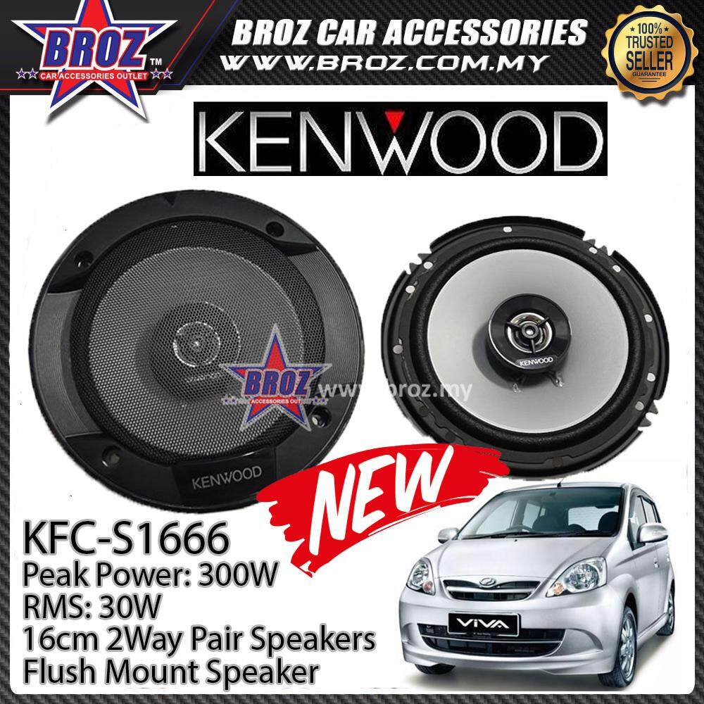 Broz Perodua Viva Rear Kenwood KFC-S1666 Stage Sound Series 2 Way Speakers