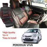 Broz Perodua Viva Red Lining Design Universal Car PU Seat Mat with Lumbar Support Per Piece