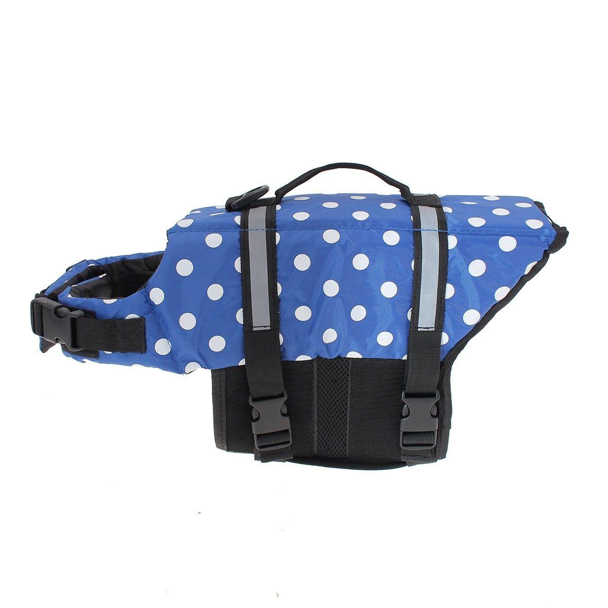Hewan Peliharaan Aquatic Reflektif Awatara Pelampung Rompi Kucing Anjing Jaket Pelampung Baru Polkadot Biru Ukuran: