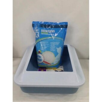Pet Cat Litter Tray With Guard Large Size + Free Catit Scentless Cat Litter Beads 1.81kg (Marble Blue)