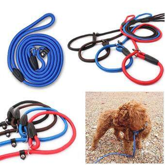 Harga Pet Dog Nylon Adjustable Training Lead Dog Leash Dog Strap RopeTraction Dog Harness Collar Leash #Coffee