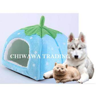 Pet House Strawberry Basket Soft Pet Bed House Dog Cat Supplies(Blue)