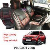 Broz Peugeot 2008 Red Lining Design Universal Car PU Seat Mat with Lumbar Support Per Piece