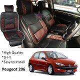 Broz Peugeot 206 / 208 Red Lining Design Universal Car PU Seat Mat with Lumbar Support Per Piece