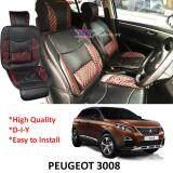 Broz Peugeot 3008 Red Lining Design Universal Car PU Seat Mat with Lumbar Support Per Piece