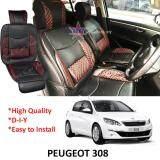 Broz Peugeot 308 Red Lining Design Universal Car PU Seat Mat with Lumbar Support Per Piece