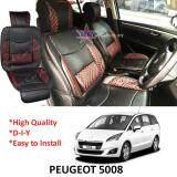 Broz Peugeot 5008 Red Lining Design Universal Car PU Seat Mat with Lumbar Support Per Piece