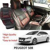 Broz Peugeot 508 Red Lining Design Universal Car PU Seat Mat with Lumbar Support Per Piece