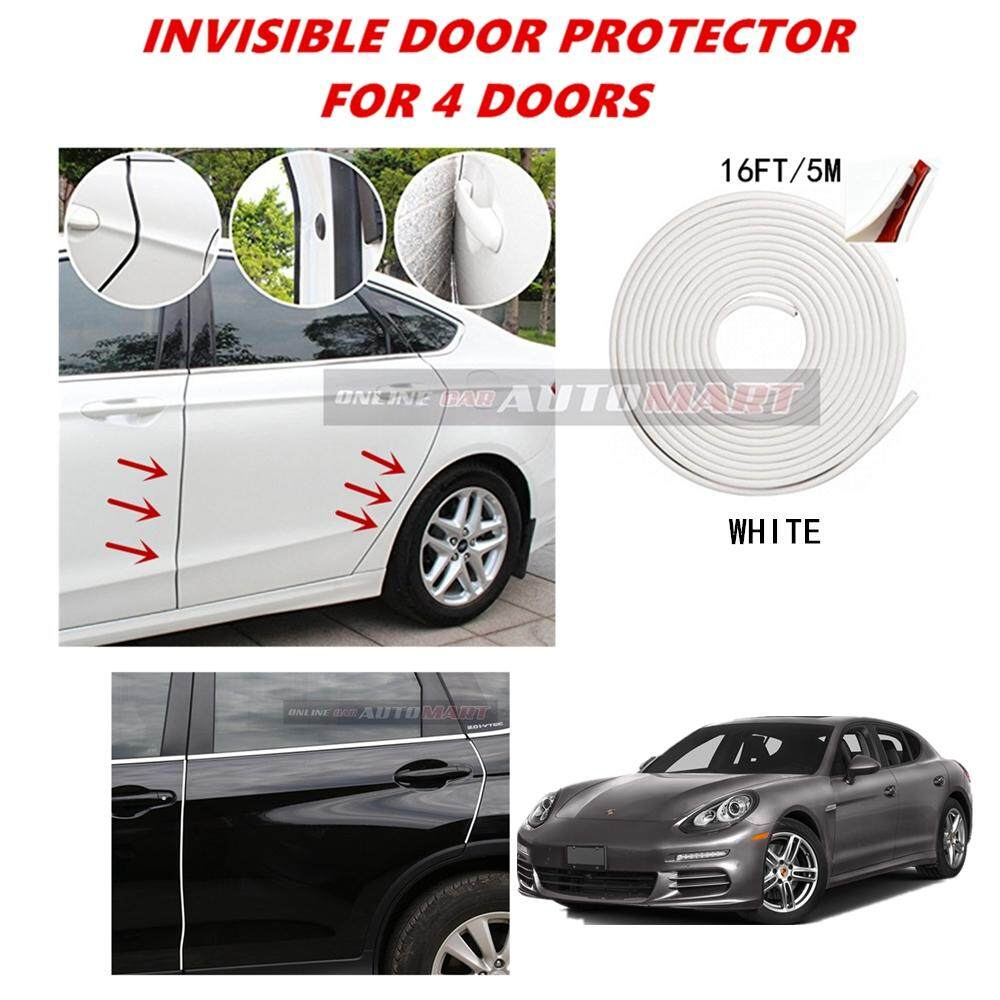 Porsche Panamera - 16FT/5M (WHITE) Moulding Trim Rubber Strip Auto Door Scratch Protector Car Styling Invisible Decorative Tape (4 Doors)