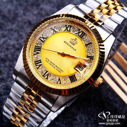 Positive article benefit Ji Nu royal crown blue precious stone water drill waterproof and Men's Fashion Watch - intl