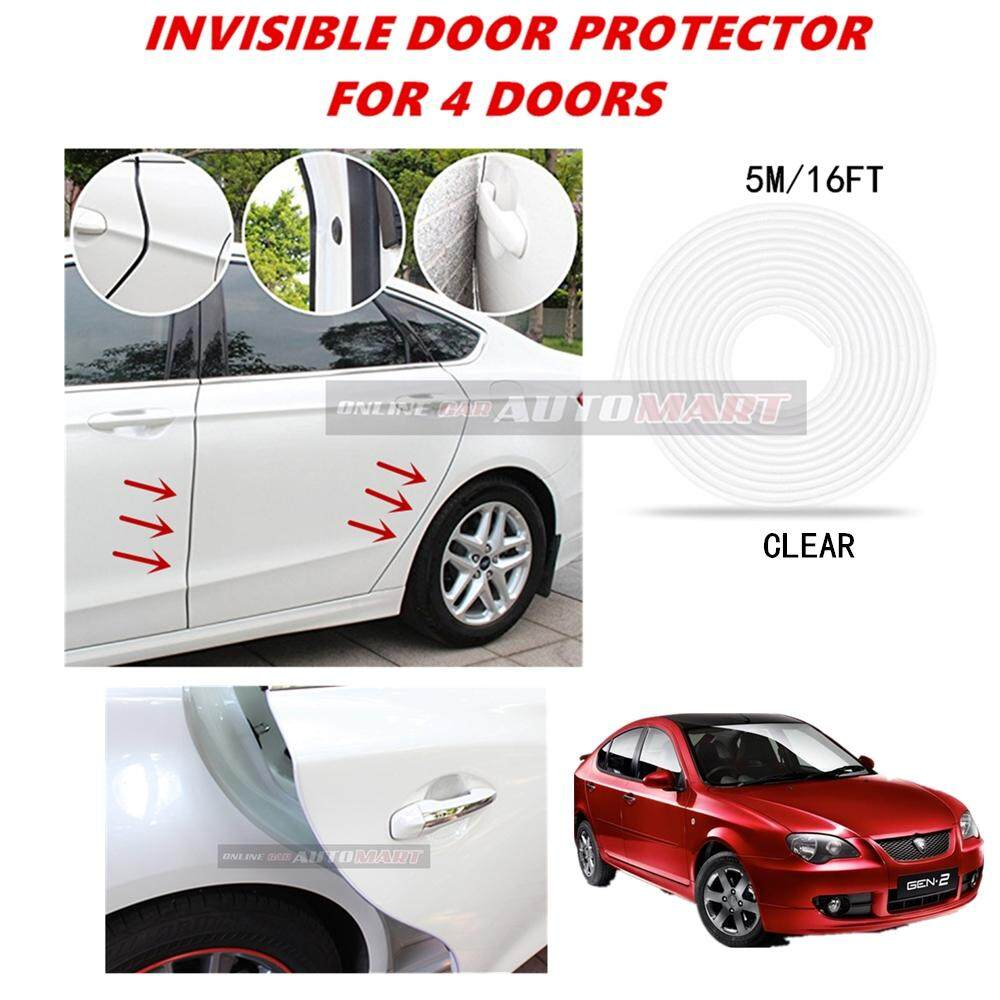 Proton Gen2 - 16FT/5M (CLEAR) Moulding Trim Rubber Strip Auto Door Scratch Protector Car Styling Invisible Decorative Tape (4 Doors)