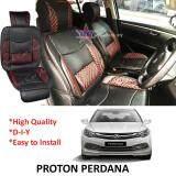 Proton Perdana Red Lining Design Universal Car PU Seat Mat with Lumbar Support Per Piece