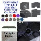 Proton Saga 12MM Customized PRE CUT PVC Coil Floor Mat with Driver Rubber Pad Anti Slip Carpet Nail Spike Backing - Grey + Black