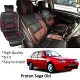 Proton Saga Old Red Lining Design Universal Car PU Seat Mat with Lumbar Support Per Piece