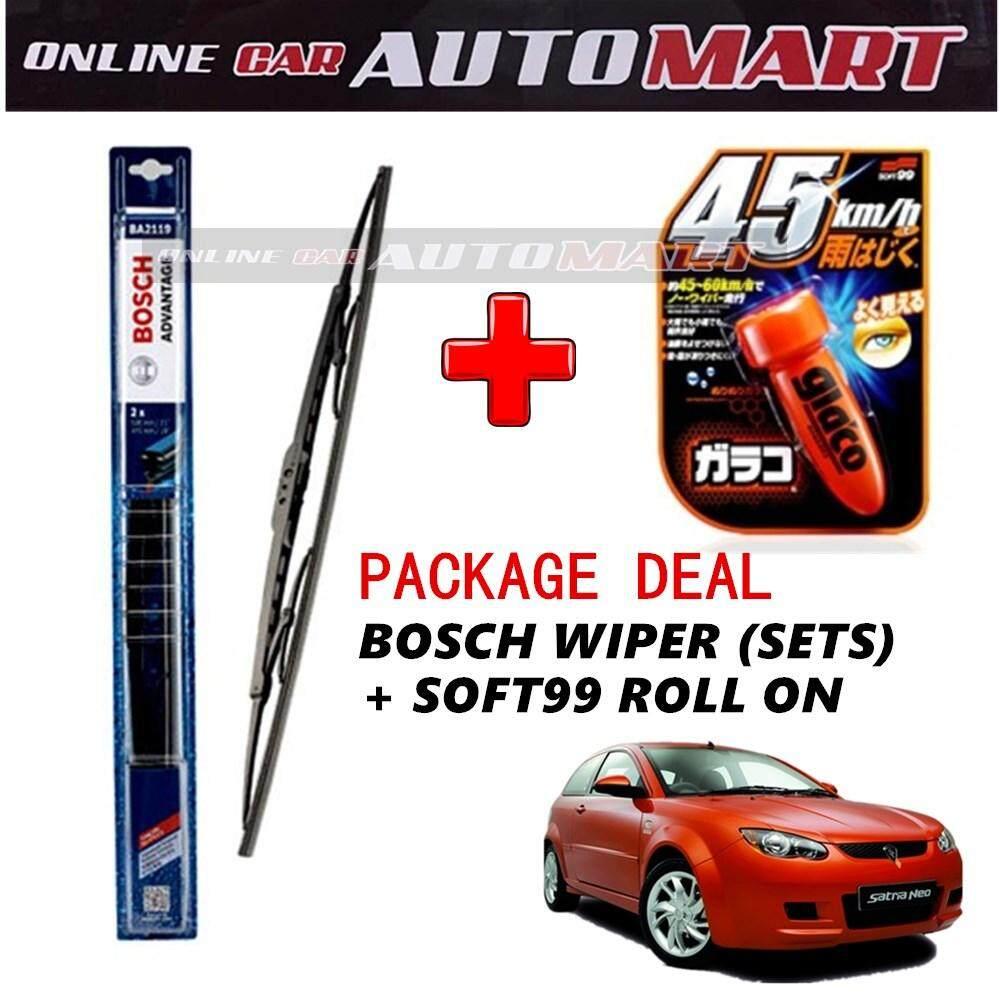 PROTON SATRIA NEO - (PACKAGE DEAL)Bosch Advantage Wiper Blade (Sets) with Soft99 Glaco Roll On RAIN REPELLANT - 18 inch & 21 inch